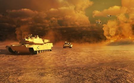 砂漠の戦闘風景 写真素材