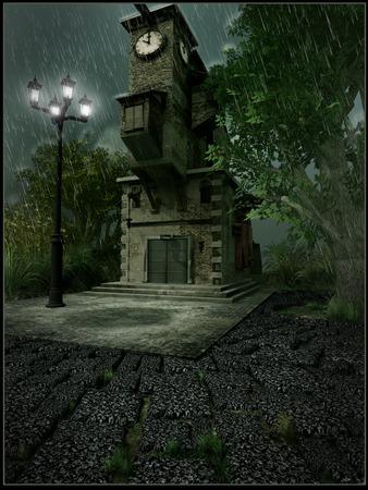 gloomy: Clock tower on a gloomy day