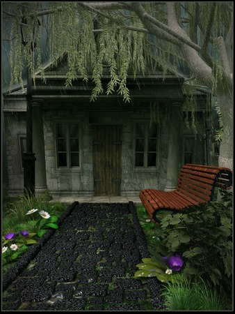 footpath: House under a weeping willow