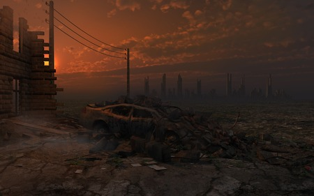 ruins: Post-apocalyptic scenery with ruins