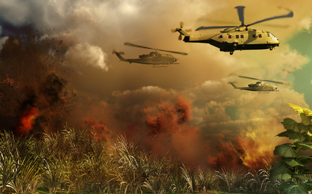 helicopters: Helicopters above tropical jungle