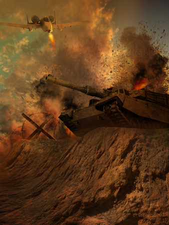 battle tank: Battle scenery with a tank and an airplane