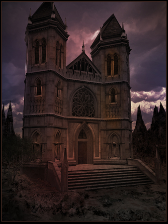 gloomy: Gloomy gothic castle Stock Photo