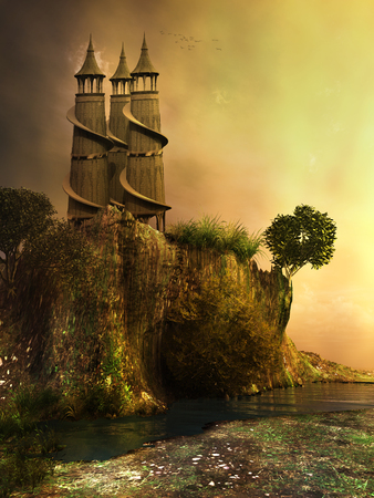 sea cliff: Towers on a cliff