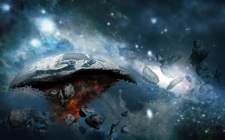 destroyed: Destroyed planet in outer space Stock Photo
