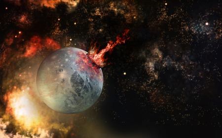 Space impact scenery