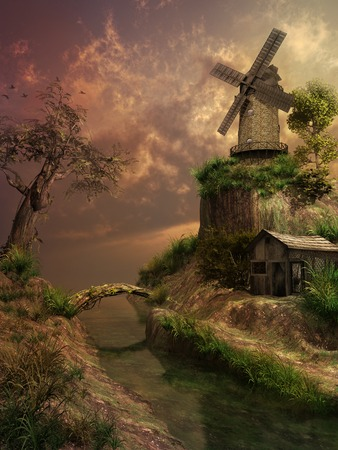 over the hill: Windmill on a hill over the river Stock Photo
