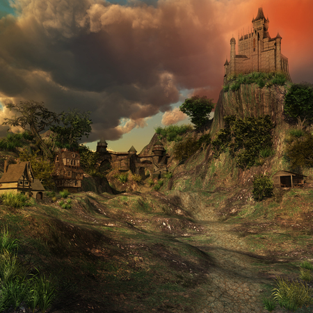 계곡에서 중세 성 및 주택