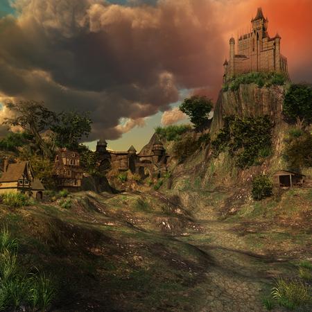 Castello medievale e le case in una valle Archivio Fotografico - 54419735