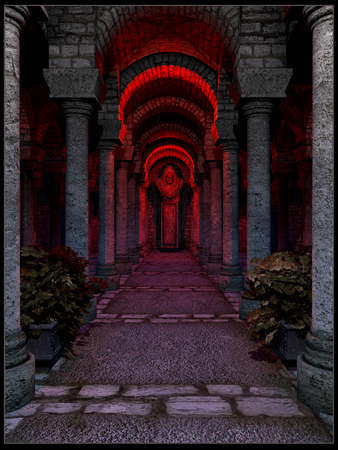 light columns: Red-lighted temple interior
