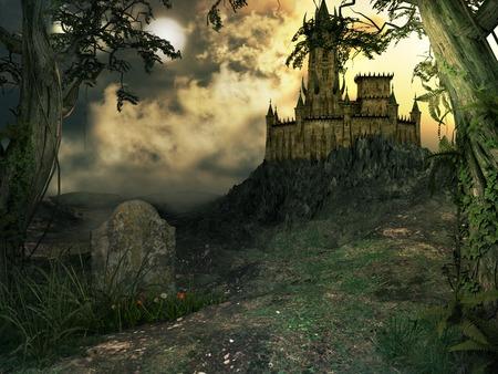 Gloomy gothic castle on a rocky mountain Zdjęcie Seryjne