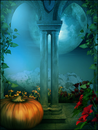 gothic window: Gothic window with a pumpkin and flowers