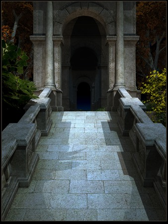 the passage: Dark passage in an old gothic building Stock Photo