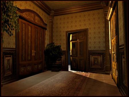 hotel hallway: Victorian hotel hallway Stock Photo