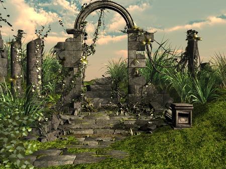 ivy vine: Temple ruins