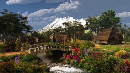 Colorful cottage scenery Reklamní fotografie