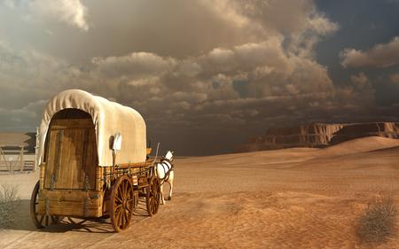 caballo: Carro viejo en el desierto Foto de archivo