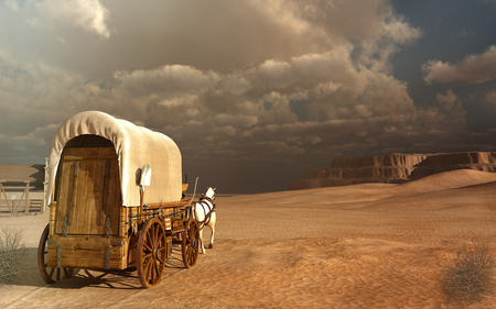 wagon: Old wagon in the desert