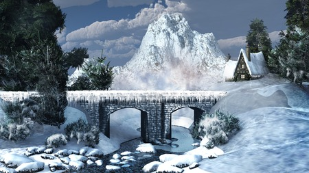 river rock: Winter mountains with a bridge on the river Stock Photo