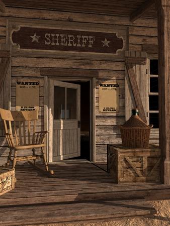 sheriffs: Door to sheriffs office Stock Photo