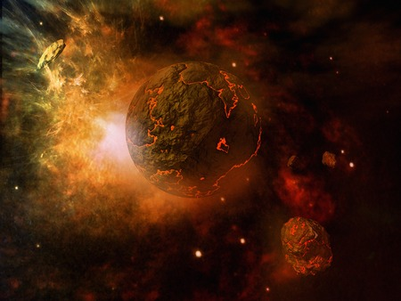 asteroid: Fiery planet and asteroid