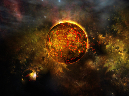 magma: Red cosmic planet Stock Photo