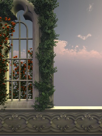 ivy vine: Gothic window with red roses