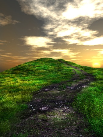 over the hill: Sunset over green hill