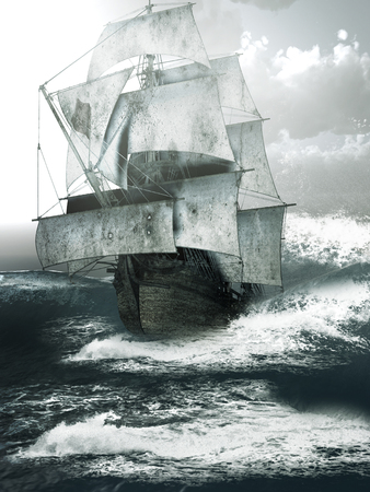 rough: Old ship sailing through rough seas