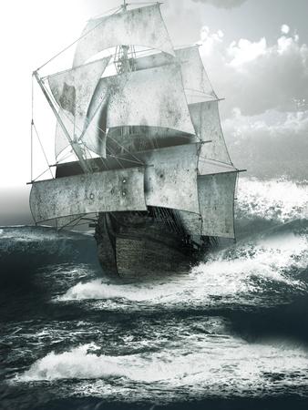 old ship: Old ship sailing through rough seas