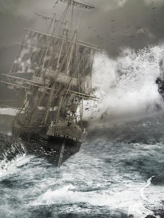 Ship washed up on rocks