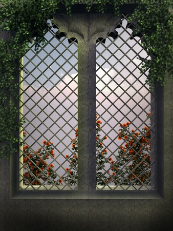 afterglow: Gothic window in the evening