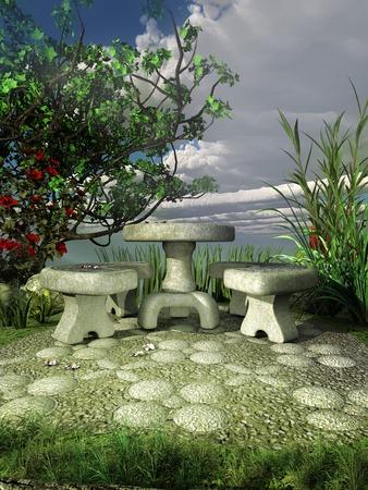 garden bench: Spring in the garden