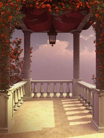 arbor: Arbor with red roses
