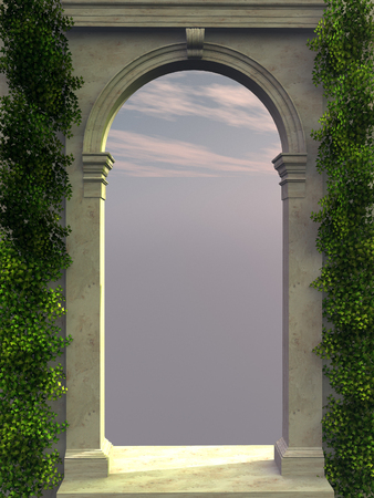 arch: Stone arch with ivy Stock Photo