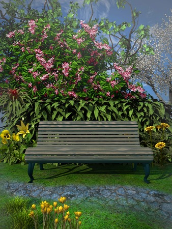 Bench under a blooming tree Stock Photo