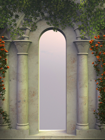 stone arch: Oriental arch with red roses and ivy