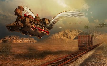 locomotive: Flying locomotive Stock Photo