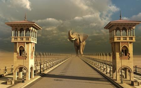 stormy sky: Elephant in an oriental street Stock Photo