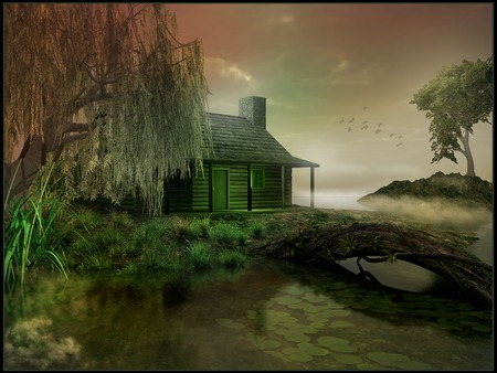 Cabin on a marsh