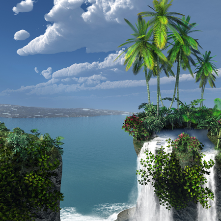 tropical: Tropical scenery with waterfall Stock Photo
