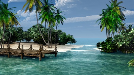 tropical: Harbor on a tropical island