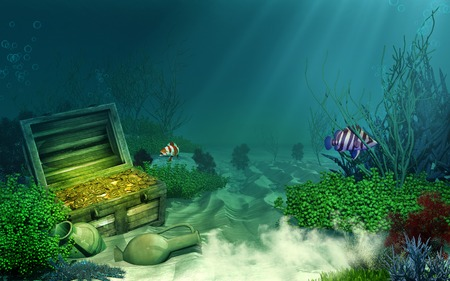 sea anemone: Sunken treasure chest Stock Photo