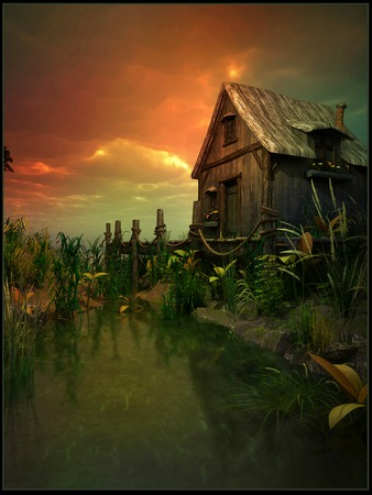 swamp: Old cabin on the swamp