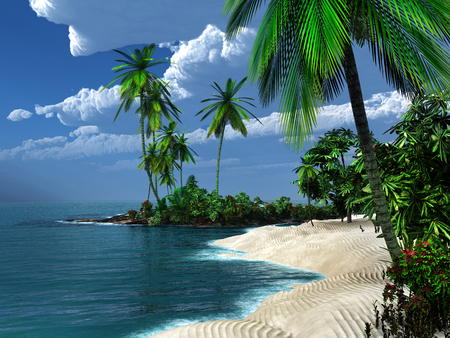 tropics: Sandy beach in the tropics Stock Photo