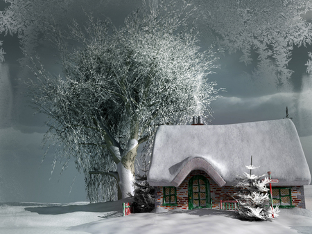 cottage: Old cottage in winter