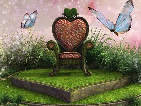 trono: Corazón en forma de trono élfica en un prado Foto de archivo