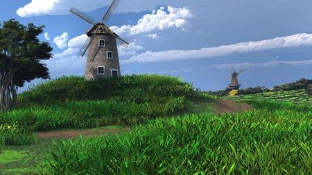 green hills: Two windmills on green hills