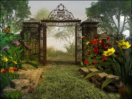 Gate to magic garden Stockfoto