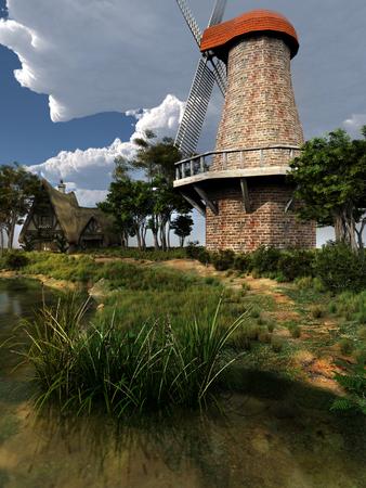 dutch: Dutch windmill near the river